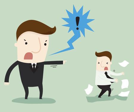 Manager klagen een werknemer, vectorillustratie bedrijfs concept cartoon