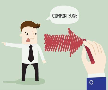 I need comfort zone ,vector illustration business cartoon concept