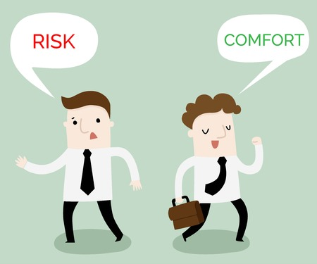 Comfort or risk zone business cartoon ,vector and illustration