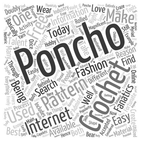 poncho: free crochet poncho Word Cloud Concept Illustration