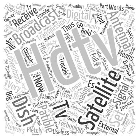 hdtv: hdtv satellite dish Word Cloud Concept Illustration