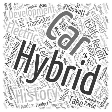 history of hybrid Word Cloud Concept Ilustrace