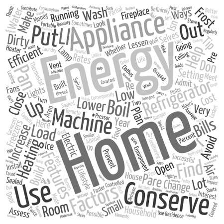 energy conservation: home energy conservation Word Cloud Concept