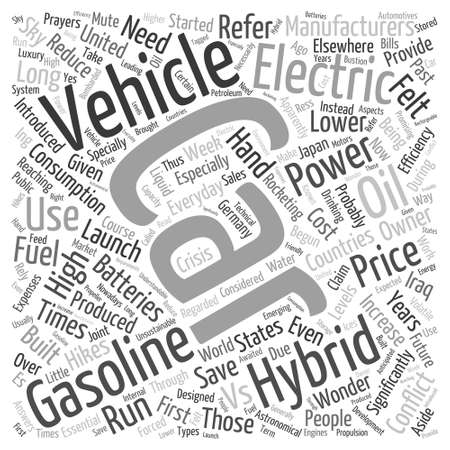 hybrid cars info Word Cloud Concept