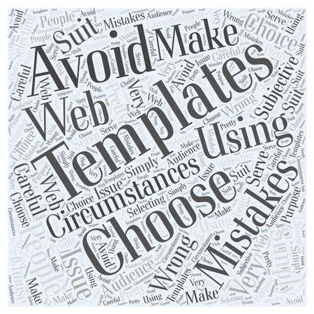 Fouten te vermijden bij het gebruik van Web Templates woord wolk concept Vector Illustratie