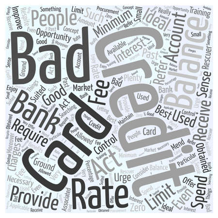 A Bad Credit Credit Card word cloud concept Çizim