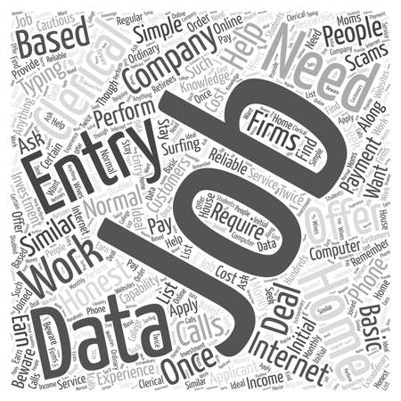 honest: Clerical data entry from home work word cloud concept Illustration