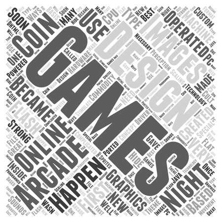 온라인 게임 단어 구름 개념을위한 디자인 일러스트