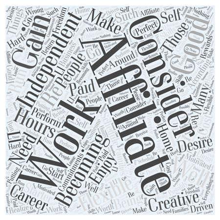 Wie moet overwegen om een affiliate woord wolk concept Stock Illustratie