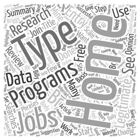 Legitimate Type At Home Jobs word cloud concept