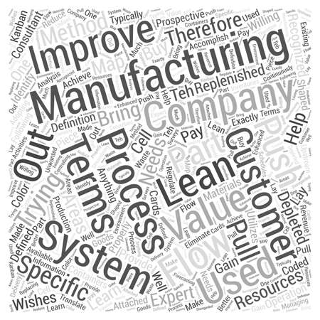 what: what is lean manufacturing word cloud concept Illustration