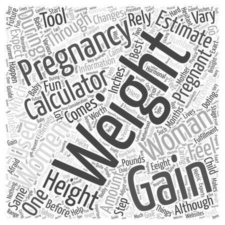 pregnancy weight gain calculator word cloud concept Çizim