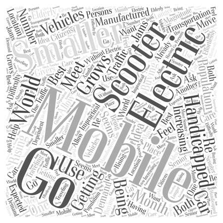 electric mobility scooter word cloud concept