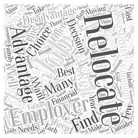 The Advantages and Disadvantages of Relocating for Your Job word cloud concept Çizim