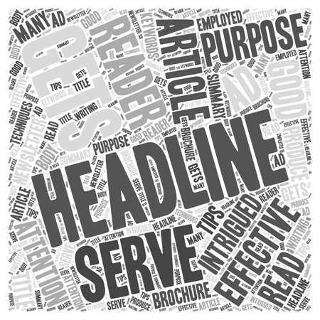 Tipps zum Schreiben von effektiven Schlagzeilen Wort Cloud-Konzept