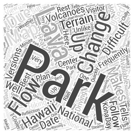 Hawaii Volcanoes National Park word cloud concept 向量圖像