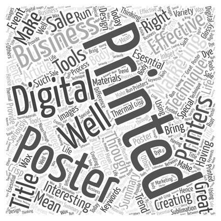 digital printing: Make Your Business Interesting Through Posters word cloud concept Illustration