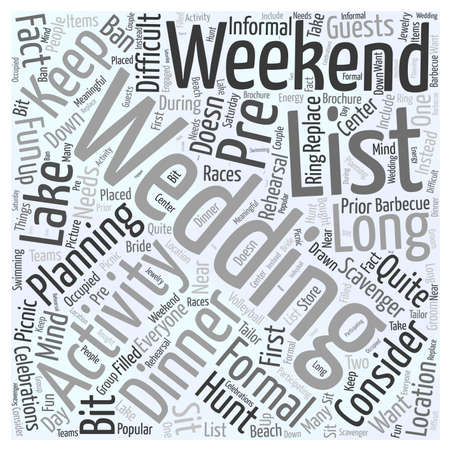 weekend activities: Wedding weekend activities word cloud concept Illustration