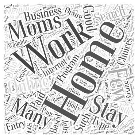Work For Stay At Home Moms word cloud concept Vectores