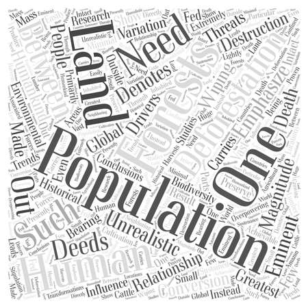 sustained: The Relationship Between Human Population And Deforestation word cloud concept