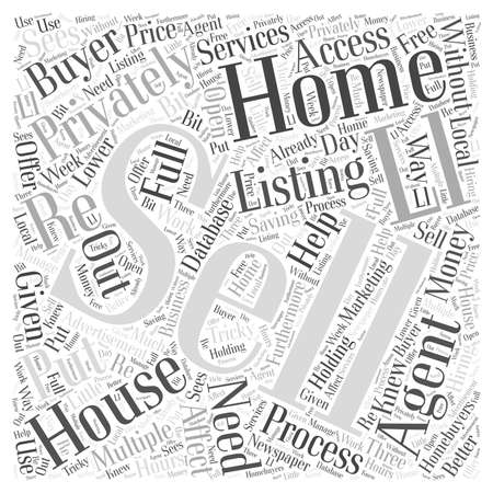 Selling a Home Privately word cloud concept 向量圖像