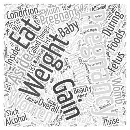 pregnancy weight gain word cloud concept Ilustração