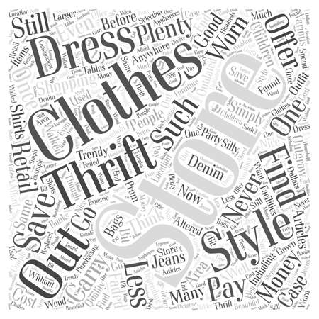 Save Money Shopping for Clothing at Thrift Stores word cloud concept 向量圖像