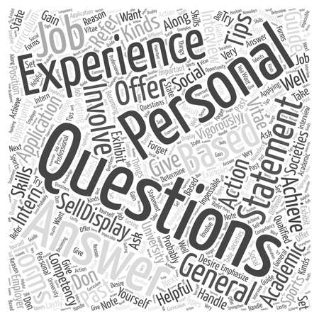 Tips On Answering Personal Questions On Intern Application Forms word cloud concept