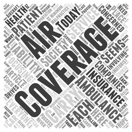 Do Air Ambulance Service Companies Carry Insurance word cloud concept