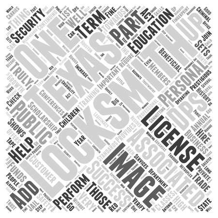 Slotenmakers in Texas woord wolk concept Stock Illustratie