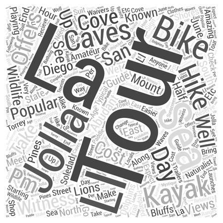 La Jolla Sea Caves Tour word cloud concept Vettoriali