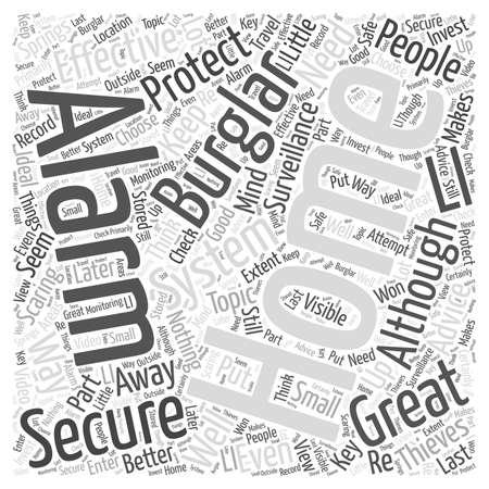 홈 보안 조언 단어 구름 개념 일러스트