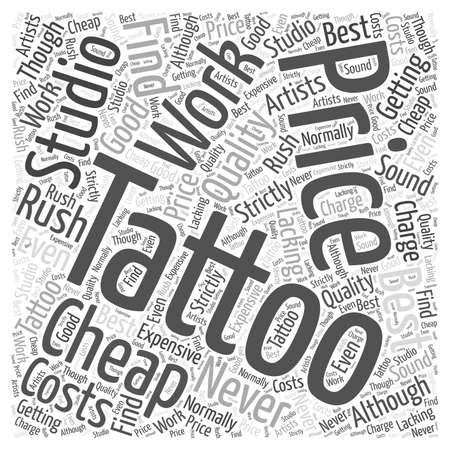 The Costs Of Tattoos word cloud concept Ilustração