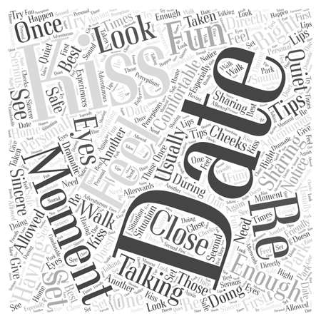 Kissing Tips On A Date word cloud concept Ilustrace