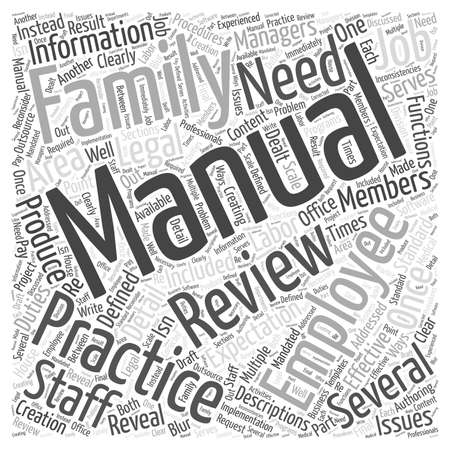 The Employee Manual in Family Practice word cloud concept 向量圖像