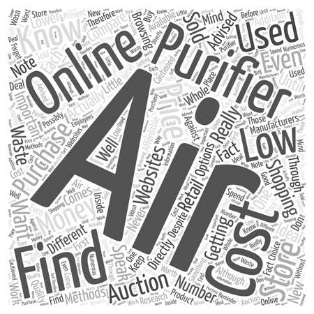 finding: Finding Low Cost Air Purifiers word cloud concept Illustration