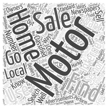 Come trovare case a motore in vendita concetto della nube di parola