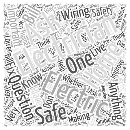 Important Questions To Ask A Electrician word cloud concept Ilustrace