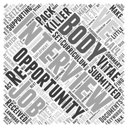 opportunity concept: Seize The Opportunity And The Job The Interview word cloud concept