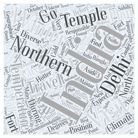 travel recommendations for northern india in winter word cloud concept Иллюстрация