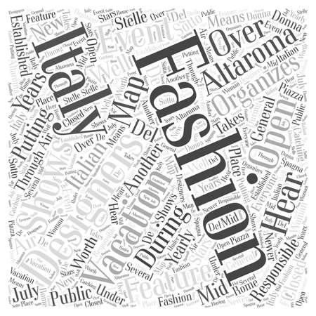 Fashion and Your Italy Vacation word cloud concept Ilustração