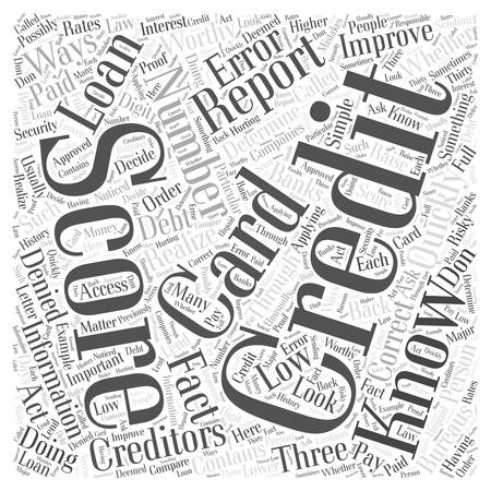 credit improve quickly score word cloud concept