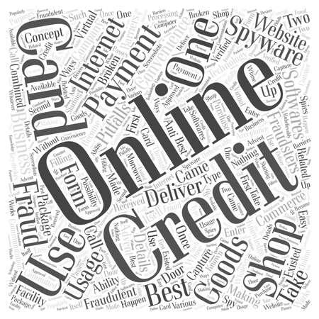 usage: Online Credit Card Usage word cloud concept