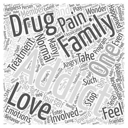Drug Addiction and the Family word cloud concept 向量圖像