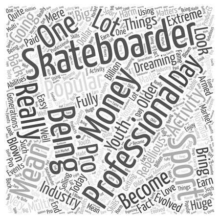 famous industries: pro skateboarding word cloud concept Illustration