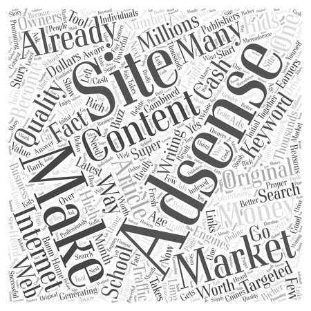 clouds making: Who Else Wants To Make Money With Adsense word cloud concept Illustration