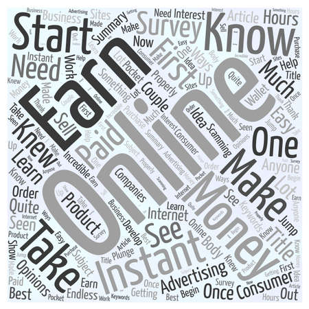 knew: How to Earn Instant Money Online word cloud concept