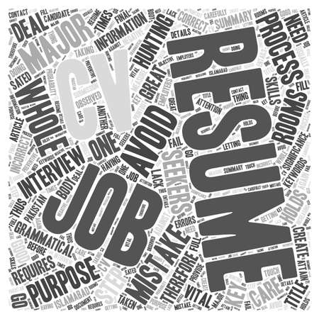 grammatical: Key Resume Mistakes To Avoid word cloud concept