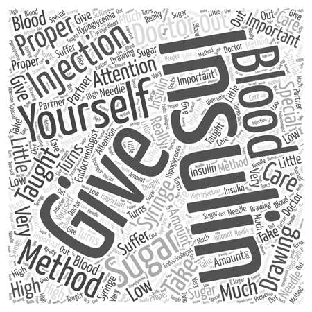 Giving yourself an Insulin Injection word cloud concept