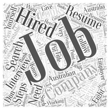 listing: Eight Steps On How to Get Hired word cloud concept